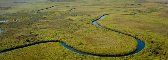 Flying into the Okavango Delta