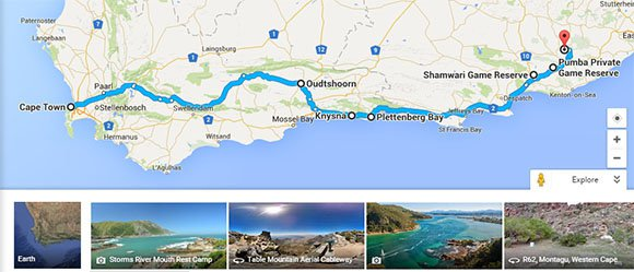 Route 62 and Garden Route map