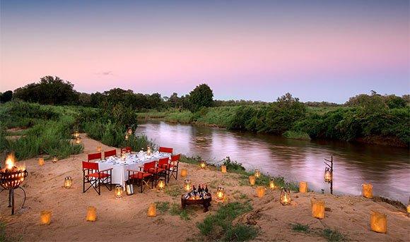 Bush dinner at Lion Sands River Lodge