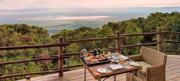 Private deck at Ngorongoro Crater Lodge