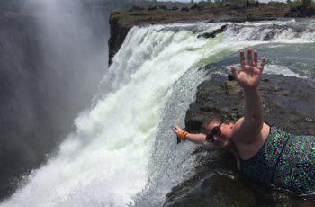 Swimming at the Devil's Pool in Zambia