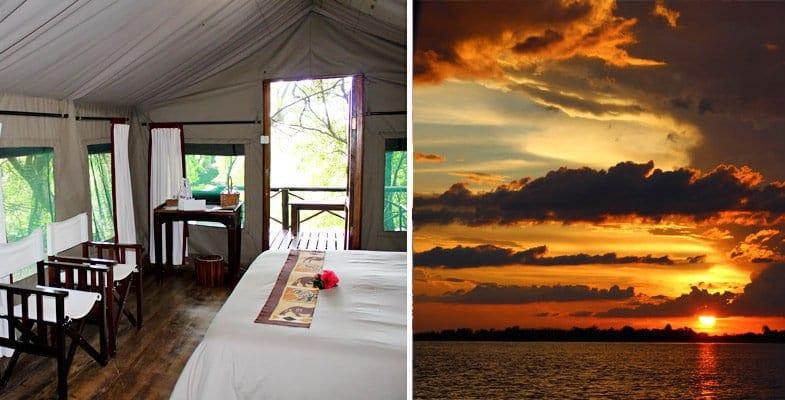Ichingo tent and Chobe River sunset