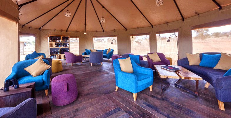 Tented lounge at Kichuguu Camp