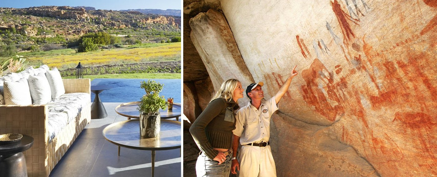 Bushmans Kloof lodge and san rock paintings